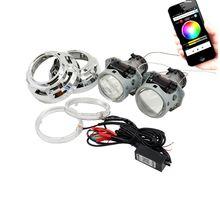 3.0 polegada hella 5 carro xenon Bi escondeu lente Do Projetor com RGB função app Bluetooth anjo olhos kit de montagem de automóveis