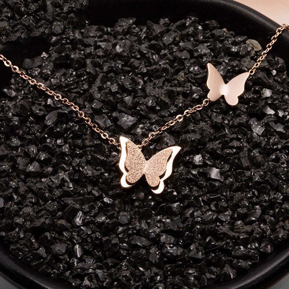 Titanium Steel Rose Gold Butterfly Sanding Necklace-Rose Gold Color Necklace For Women And Girl Quality Control Free Shipping