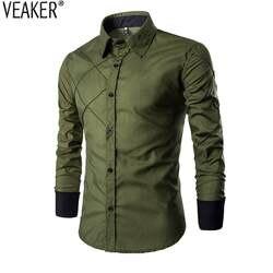 2018 Новый Для Мужчин's Повседневное рубашки синий зеленый черный мужской с длинным рукавом Slim Fit Рубашки в клетку camisa masculina 10 Цвета M-3XL