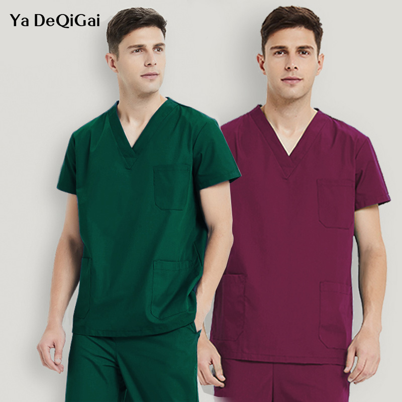 Solid Color V-neck Unisex Medical Surgical Uniforms Hospital Nurse Scrub Tops Operating Room Pharmacy Pet Doctor Work Clothes
