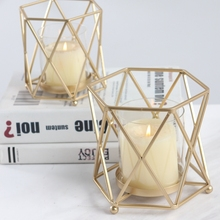 PINNY European Geometric Candle Holder Romantic Metal Candlesticks Home Decoration Accessories Moroccan Decor