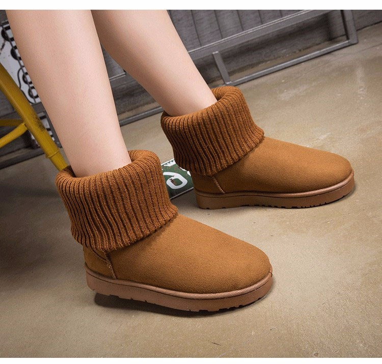 KUYUPP Patchwork Knitting Wool Women Snow Boots Winter Shoes 2016 Flat Heels Warm Plush Ankle Boots Slip On Womens Booties DX119 (42)