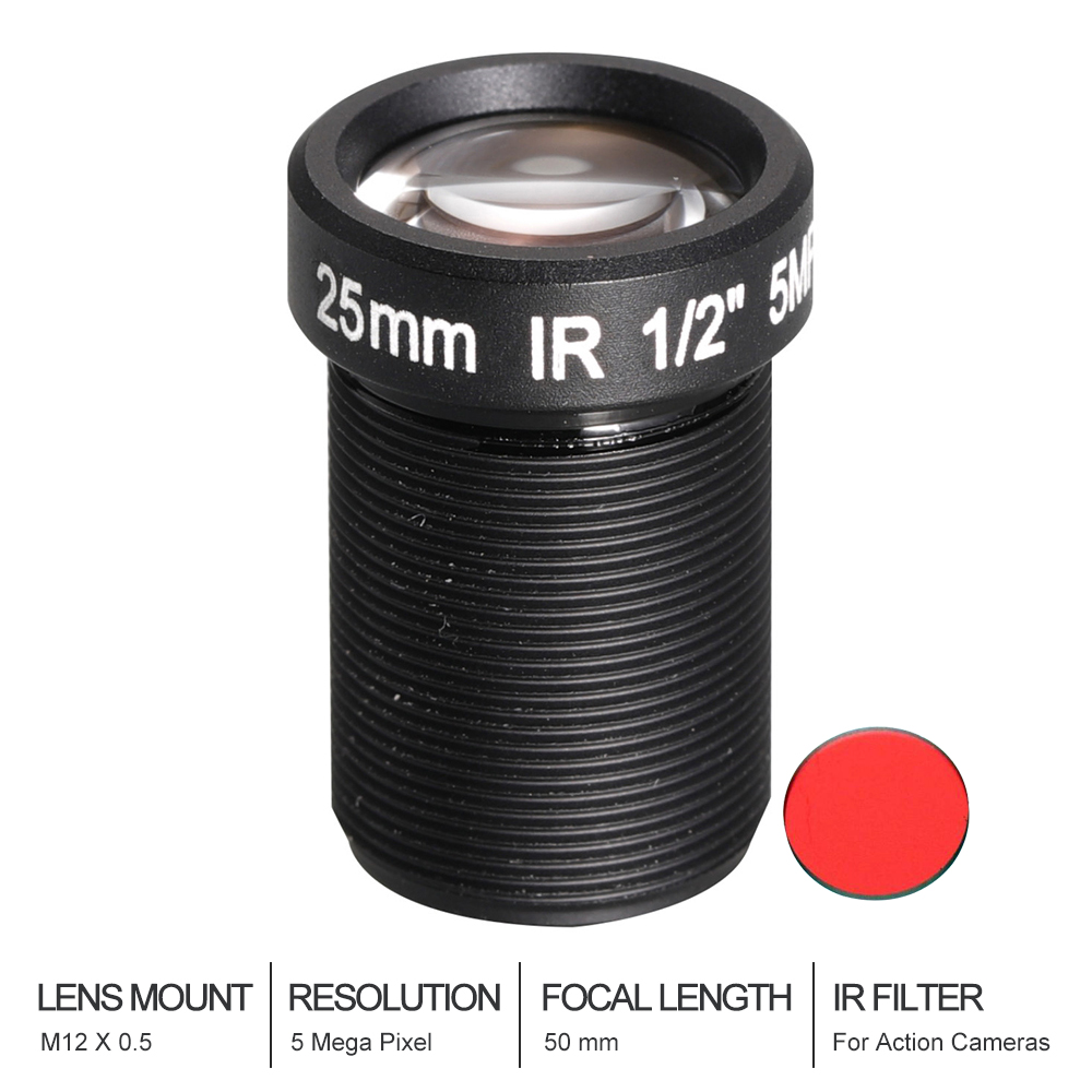 Witrue Action Camera Lens 5 Mega Pixel 25mm with IR filter M12 1/2