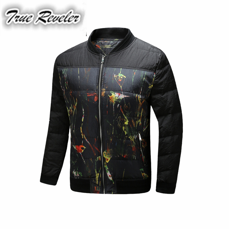 True Reveler Brand New Style Warmth Mens Jackets And Coats Thick Parkas Men Outwear Winter Graffiti Flowers and birds Men Jacket