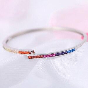 Image 5 - Estilo simples amarelo rosa azul roxo vermelho colorido arco íris pulseira pulseira para mulher 3mm largura s925 prata esterlina pulseira presente