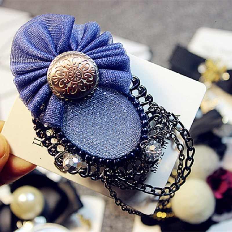 Hadiah Baru Retro Korea Renda Biru Pin Rantai Manik-manik Berlian Imitasi Bros Wanita Bros untuk Wanita, P034-2