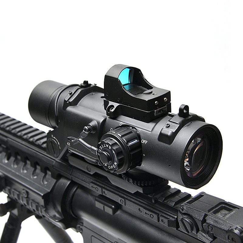 Tactical Rifle Scope DR Quick Detachable 1X 4X Adjustable Dual Role Sight Airsoft Scope Magnification Hunting