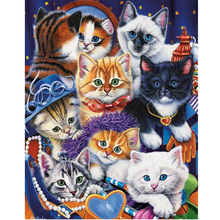 Moge diamond painting cats flower birds embroidery christmas cat Mosaic female set in winter