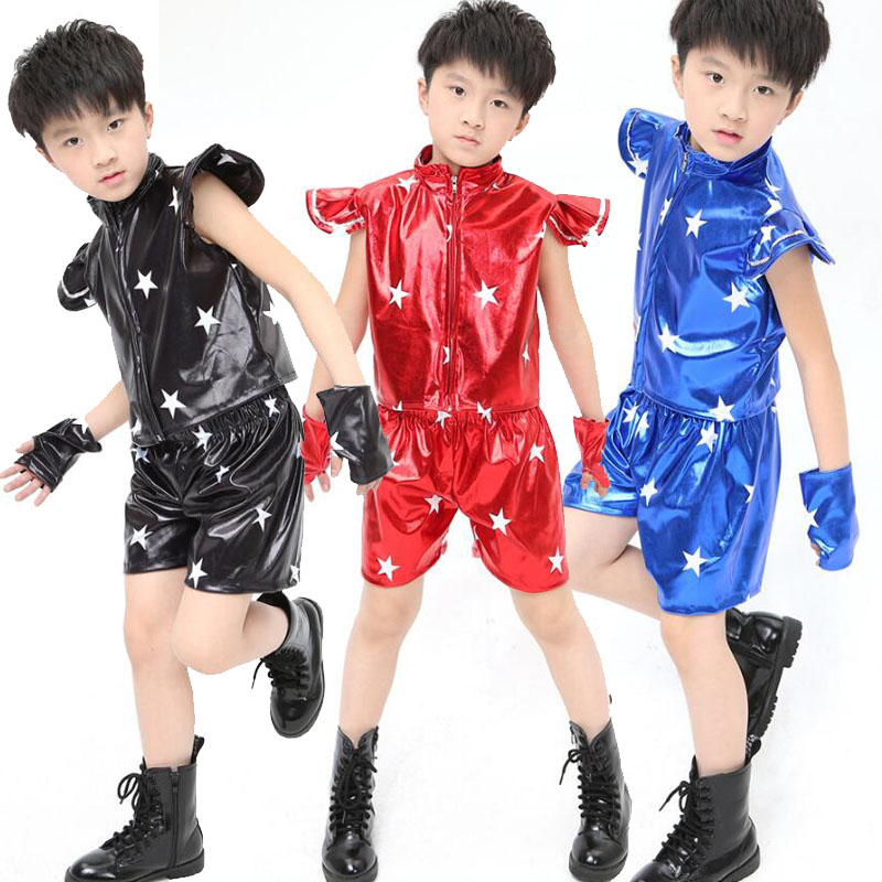 4ab87c2f1 Blue Sequined Kids Jazz Dance Costumes tops+Pants Boys Modern Hip ...