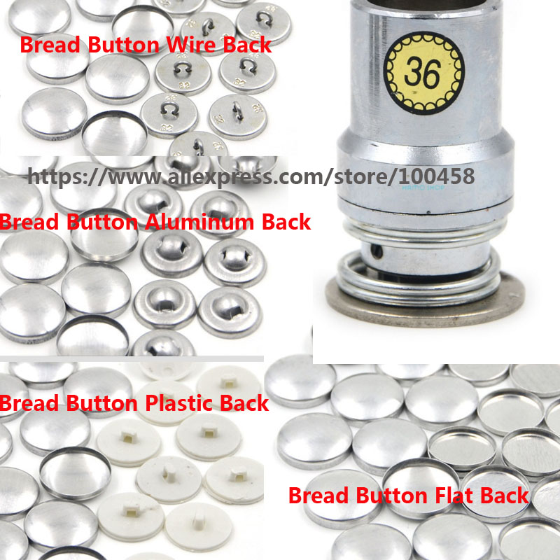 36L Round Aluminum Fabric Self Covered Button Component with Die Tool Metal Bread Top Flat Plastic Ring Back DIY Handmade Button
