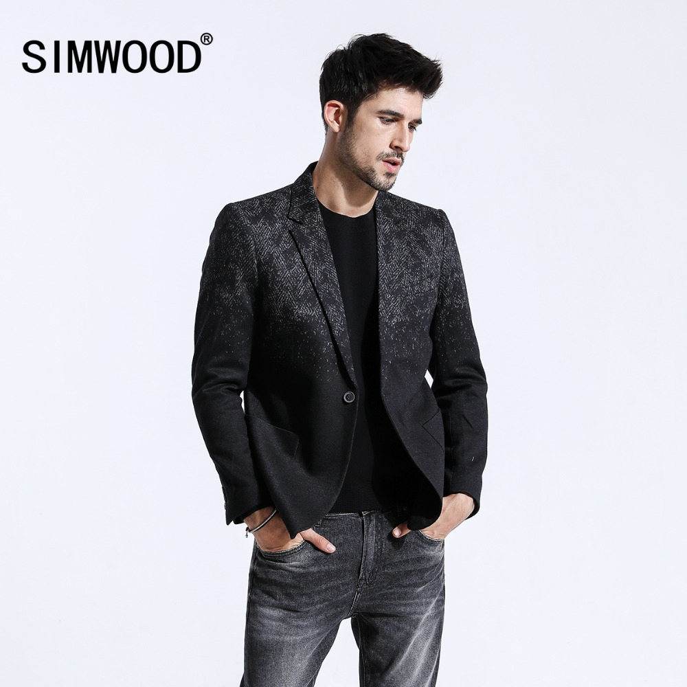 SIMWOOD 2019 Winter New Mix Wool Blazers Men Fashion Print Suits Male Single Button Jackets High Quality Coats Clothes XZ6109
