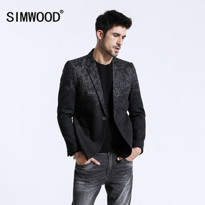 Image 1 - SIMWOOD 2020 Winter New Mix Wool Blazers Men Fashion Print Suits Male Single Button Jackets High Quality Coats Clothes XZ6109