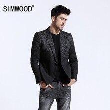 SIMWOOD 2020 zima nowy Mix wełny Blazers mężczyźni modny nadruk garnitury męskie zapinany na jeden guzik kurtki wysokiej jakości płaszcze ubrania XZ6109