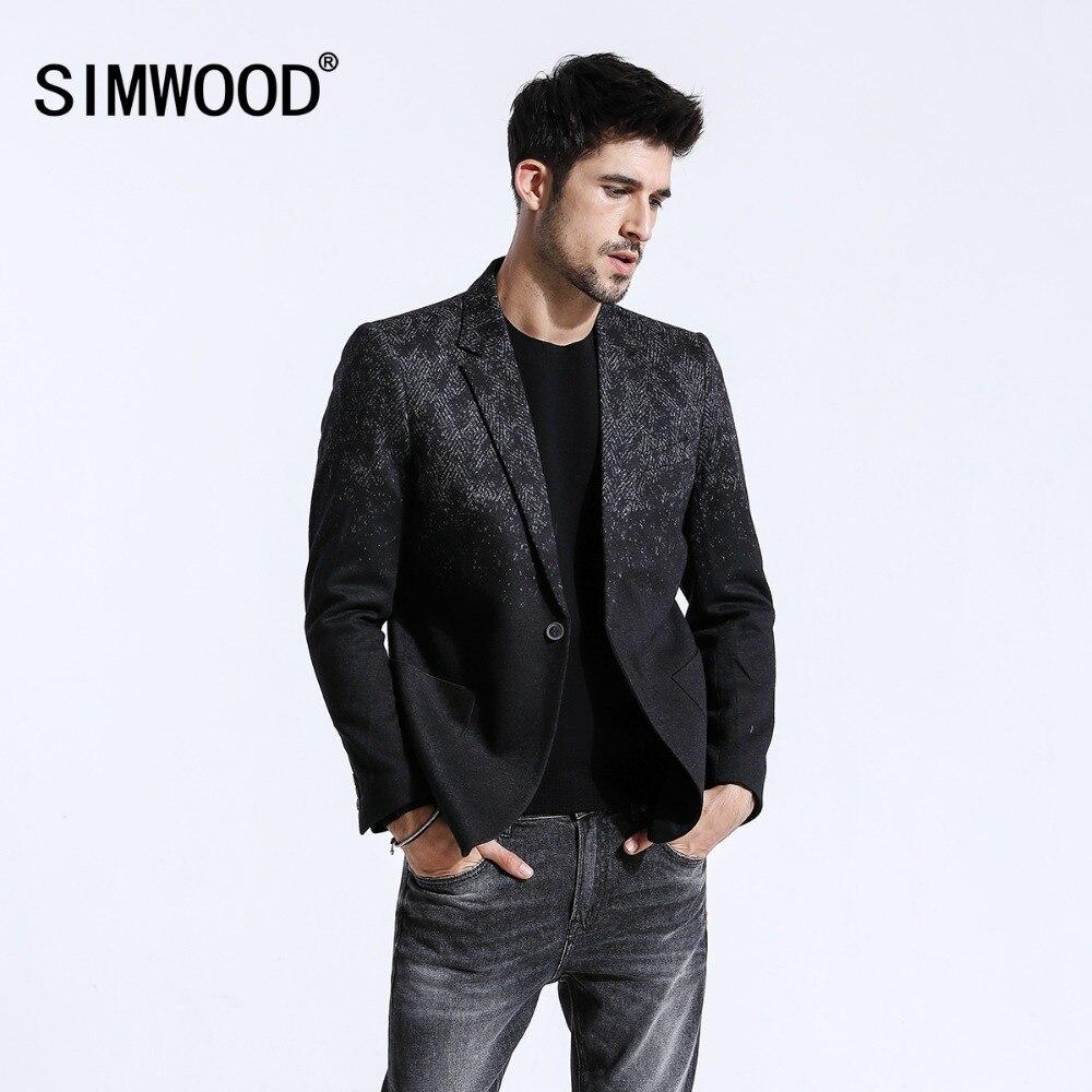 Simwood 2020 inverno nova mistura blazers de lã dos homens moda impressão ternos masculino único botão jaquetas alta qualidade casacos roupas xz6109