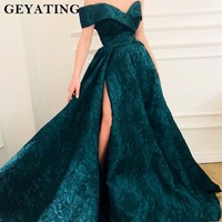 Emerald Green Lace Evening Dress 2018 Off Shoulder A Line Long Formal Dress Sexy Side Split Prom Party Gowns Vestidos de festa