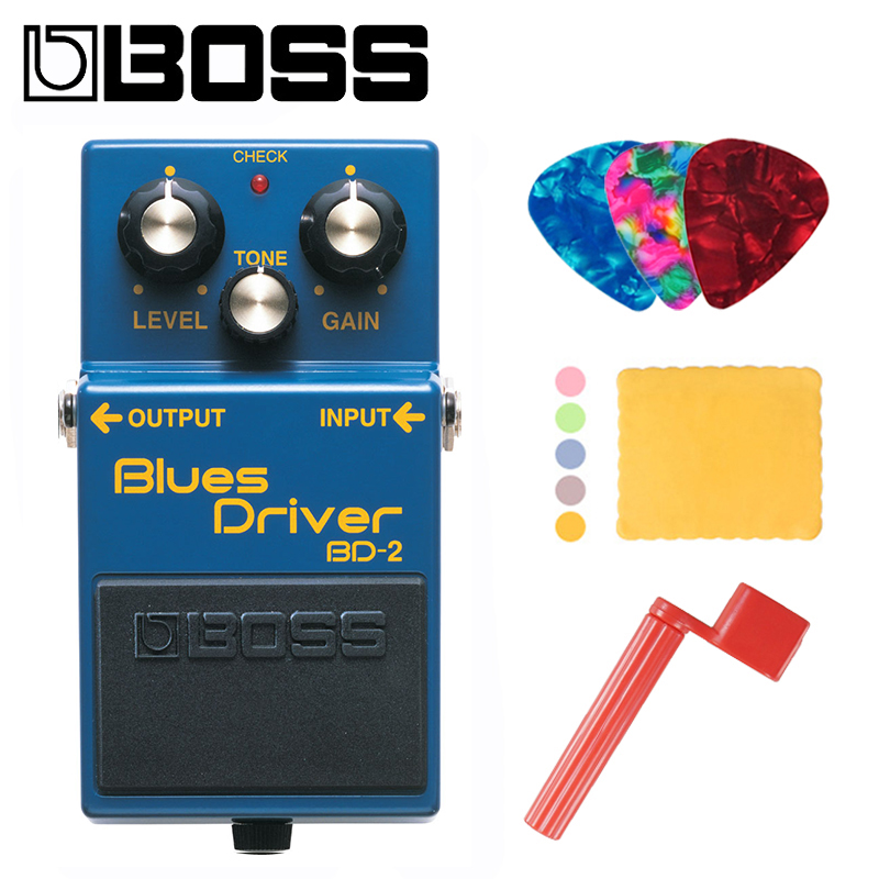 Boss BD 2 Blues Driver Guitar Effects Pedal for Guitar Bundle with Picks Polishing Cloth and