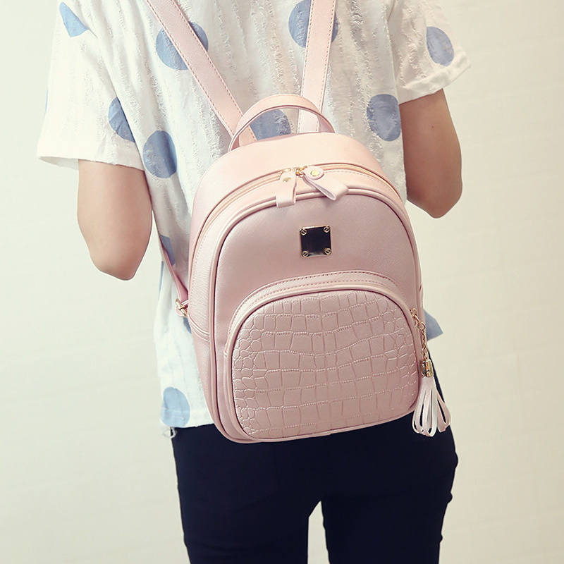 Free Shipping Women backpack leather school bags for teenager girls stone sequined female preppy style small solid backpack