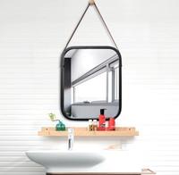 Nordic Style Bath Mirror Hotel Bathroom Hallway Wall Decoration Hanger Mirror Frame Toilet Dressing Mirrors Bath Decor LFB984