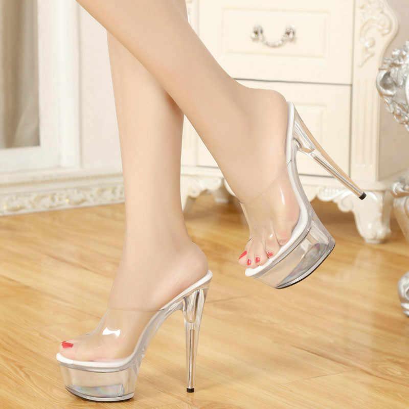 7a46a489ce0 ... 15CM Super High Heels Thin Transparent Glass Slippers Platform Shoes  Princess Wedding Sandals Woman Shoes ...
