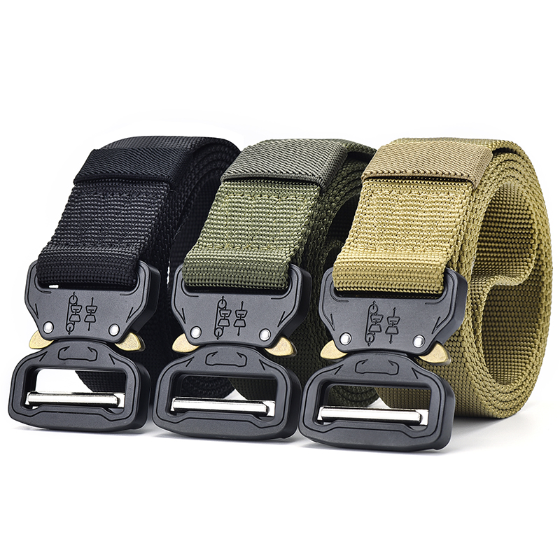 [JSJ]Army Tactical Belt Sets Military Nylon Outdoor Belts Men Training Belt Metal Automatic Buckle Strap Hunting Accessories