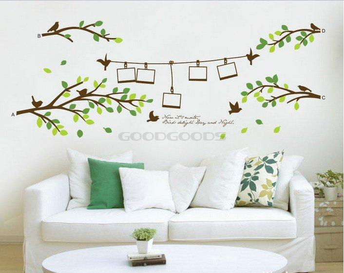 new 2014 family tree photo frame birds branch leaves diy removable wall sticker art decor mural
