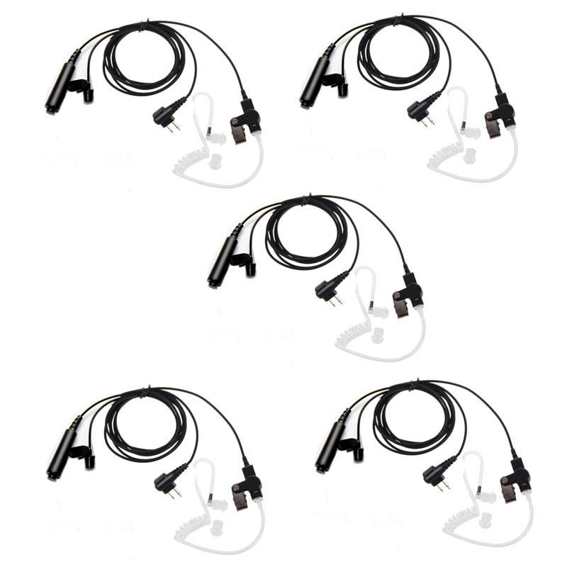 Lot 5pcs 3 Wire Pro Covert Acoustic Tube Earpiece Headset PTT Mic Microphone For Motorola Cls1110 Cls1410 Cls1413 Cls1450 Radio