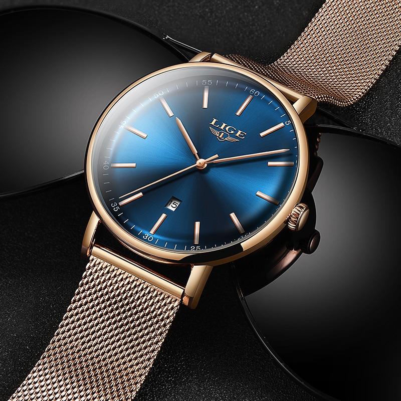 LIGE Women Watches Top Brand Luxury Ladies Mesh Belt Ultra-thin Watch Stainless Steel Waterproof Clock Quartz Watch Reloj Mujer