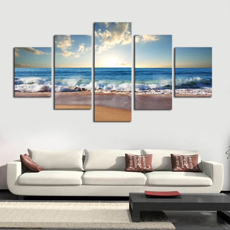 5 Panels No Frame Blue sea water Diamond Embroidery scenic Mosaics 5d Diy Diamond Painting scenic