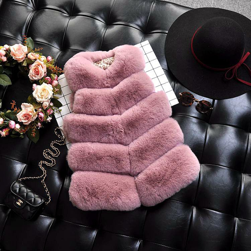 Kids Girls Faux Fur Vest Coats Winter Warm Waistcoat Sleeveless Children Fur Jacket Baby Girls Outwear Clothes TZ246