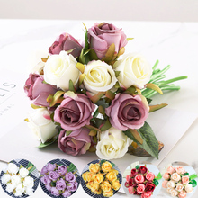 12pcs High Quality artificial silk flowers Wedding fake flowers Artificial bouquet White Rose for Home Party Decoration