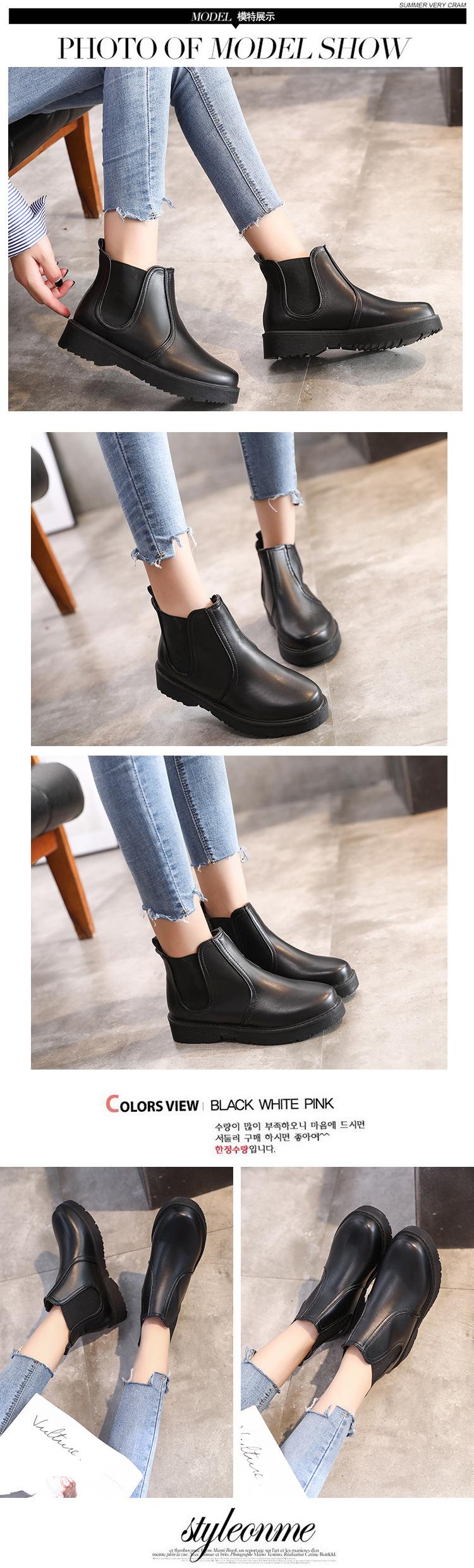 8ced562758 Women S Boots Fashion Wild Martin Boots Female Round Head Low Heel ...
