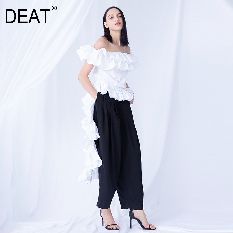 DEAT 2020 New Summer Fashon Slash Neck Ruffles Sleeves Sexy Top Back Longer Party Person Vestido Female High End WG86200L