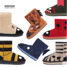 Koovan Enfants Bottes 2017 Enfants Chaussures Haute Qualité Moutons Bottes En Cuir Véritable De Fourrure Filles Garçons Neige Mignon Animaux Hiver Coton