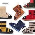 Koovan Niños Botas 2017 Zapatos de Los Niños Niñas niños Nieve Botas de Cuero Genuino de la Piel de Oveja de Alta Calidad Lindo Animales de Algodón de Invierno