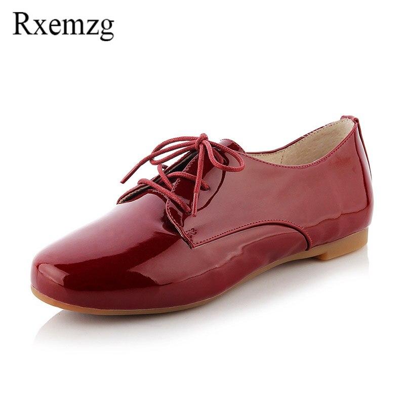 rouge Dentelle Rouge Vin Richelieus Wine Rxemzg red Cuir up Noir Verni Britannique Chaussures Automne Femmes Date Appartements Style Super Bout Rond Doux De 2018 blanc Femme gb76yYvf