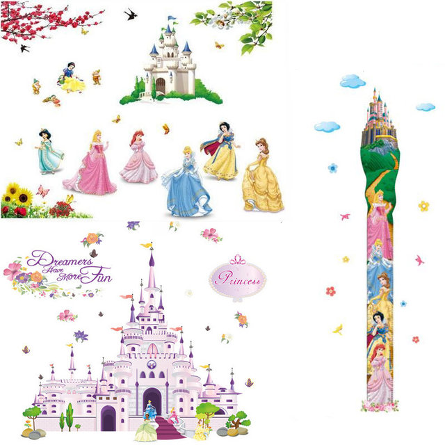 New Cartoon Snow Girl Princess Castle Wall Stickers For Kids Room  Furnishings Wall Decals Children Room