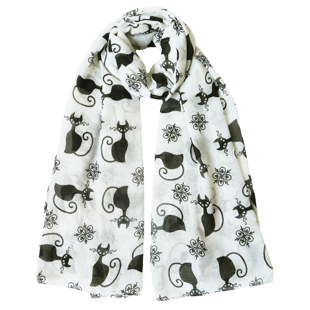 Black Cat Kitten Print Scarf white
