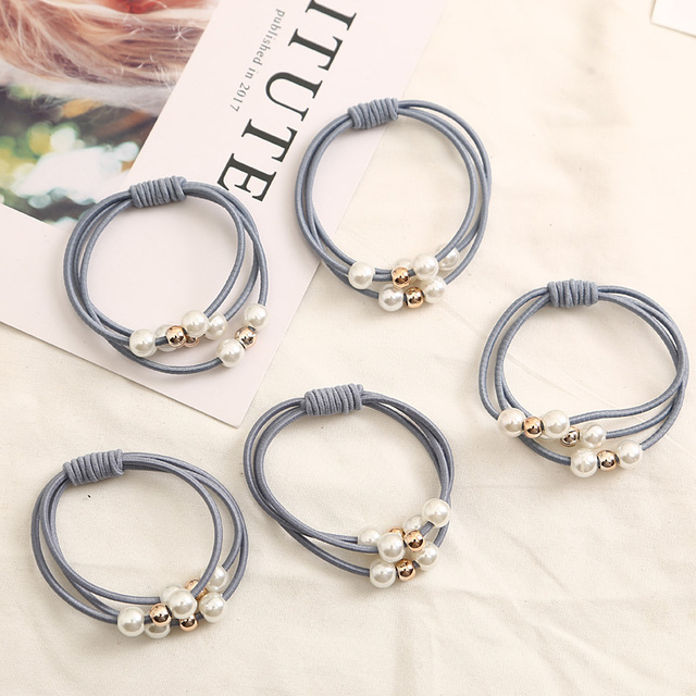 2018 Hair Accessories Pearl Elastic Rubber Bands Ring Headwear Girl Elastic Hair Band Ponytail Holder Scrunchy Rope Hair Jewelry 3