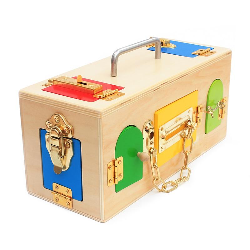 High Quality Montessori Materials Lock Set Lock and Key Tool sets 9 Locks Latch Unlock Box Set Tools Toys Early Educational Gift(China)