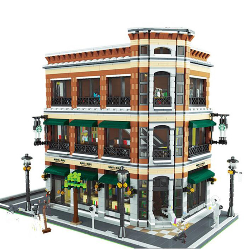 Lepin 15017 4616PCS City Series villa bookstore Starbucks house building model Children Toy creative assembling blocks 4695pcs lepin 16001 city series firehouse headquarters house model building blocks compatible 75827 architecture toy to children