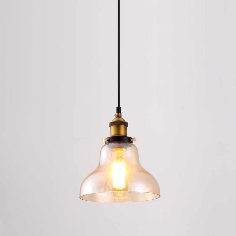 Ретро Винтаж подвесные светильники из прозрачного стекла абажур Лофт подвесные лампы E27 110 В 220 В для столовой украшения дома освещение