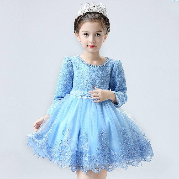 Coréenne princesse filles automne enfants à manches longues dentelle broderie robe avec velours enfants vêtements mince épais 3 couleur - 2