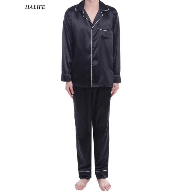 Para hombre de Manga Larga Gira el Collar Abajo Contraste de Color Sólido Delgado ropa de Dormir ropa de Dormir Pijamas Set 0115