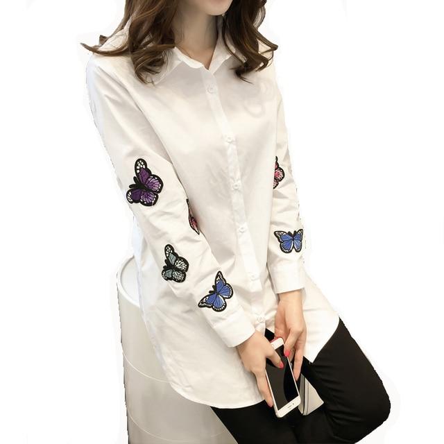 16b0ddddc4e 2016 Весна Корейский Стиль Женщины Белые Блузки Дамы С Длинным Рукавом  Бабочка Вышивка Хлопок Длинная Рубашка