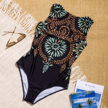 2019 Sexy One Piece Swimsuit Closed Print Swimwear Women Swimsuit Push Up Bathing Suit For Beach Or Pool Female Swimming Suit 1