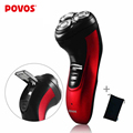 POVOS  Men's Rechargeable Triple Blade Electric Shavers Razor 3D Pop-up Trimmer 8 Hour Charge Black Red Waterproof (220V) PW930