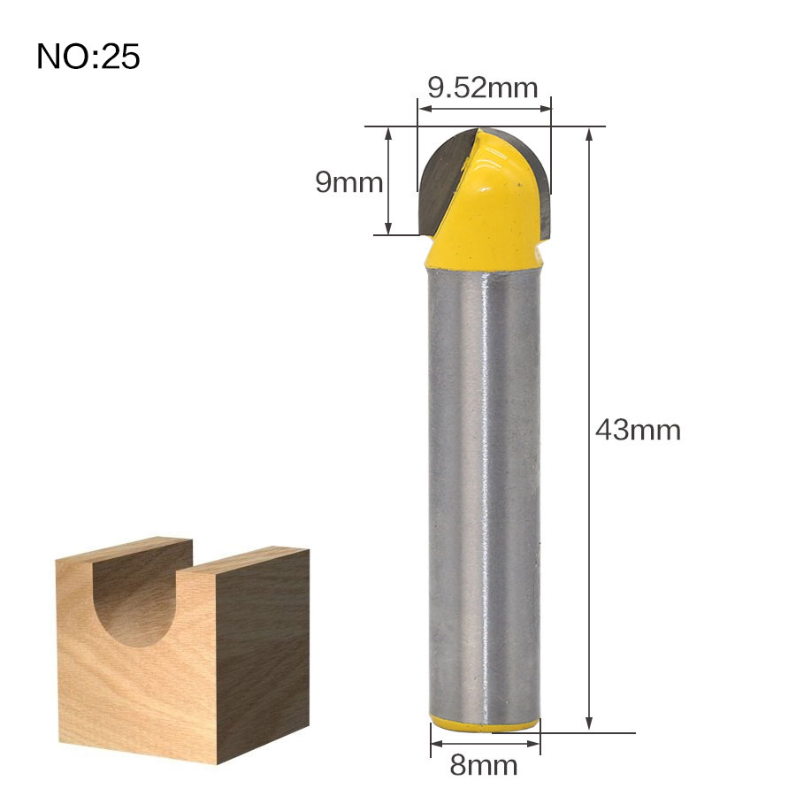 1 шт. 8 мм хвостовик триммера Ceaning Flush Trim древесины фрезы прямой конец Milll вольфрамовые фрезы для дерева Деревообрабатывающие инструменты - Длина режущей кромки: NO 25