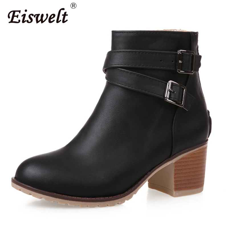 EISWELT Autumn Winter Women Shoes Vintage Thick High Heel Ankle Boots Snow Short Boots Zip Buckle Fashion Solid Boots#ZQS097 fashion square toe zip genuine leather solid nude women ankle boots thick heel brand women shoes ladies autumn short boots