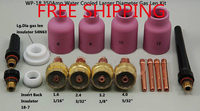 FREE SHIPPING,17PK TIG Consumable KIT Large Diameter Alumina Nozzle Gas Lens Collet Bodies Fit TIG Welding Torch WP 17 18 26