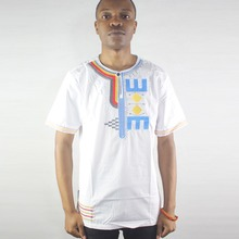 Africa White Irregular Embroidered Men`s Ethnic Tops Male Summer Henley Shirt